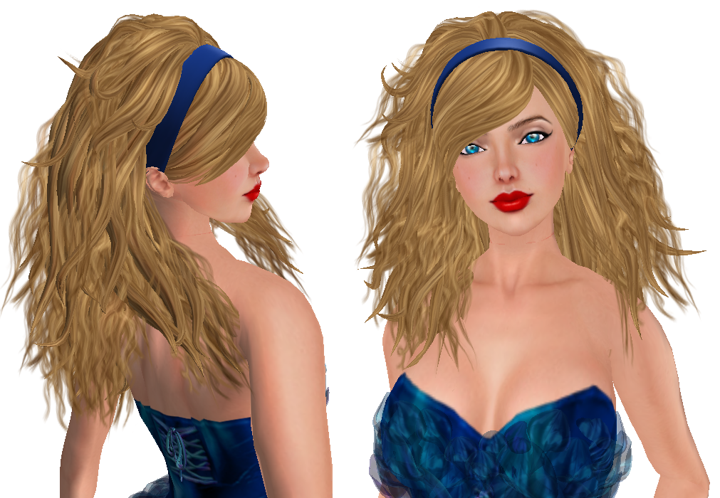 Anise is a medium length wavy hairstyle, the hair spills over both shoulders